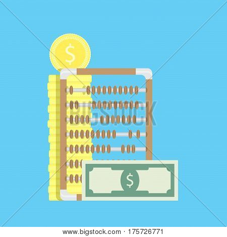 Check money vector. Abacus and counting salary wealth banking investment banknote money illustration