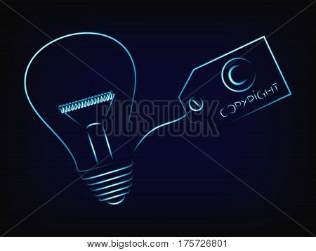 Vector Of Idea Lightbulb With Copyright Tag