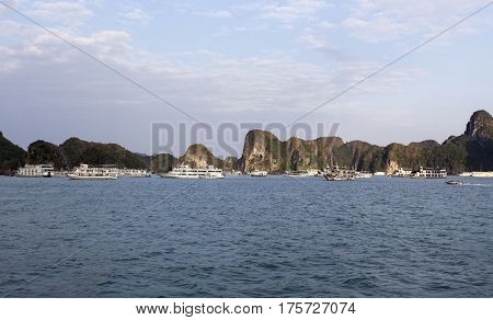 Ha Long Bay Vietnam - December 27 2016: view of the Ha Long Bay full of boat cruising