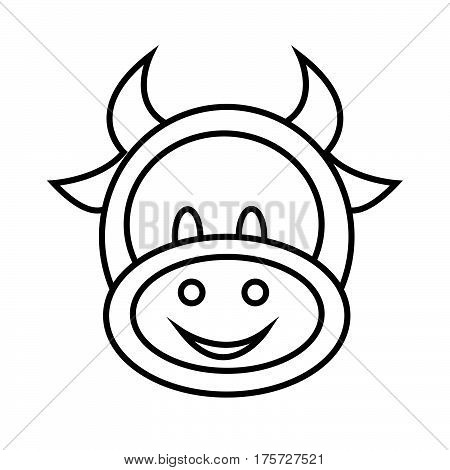 a Simple thin line cow icon vector