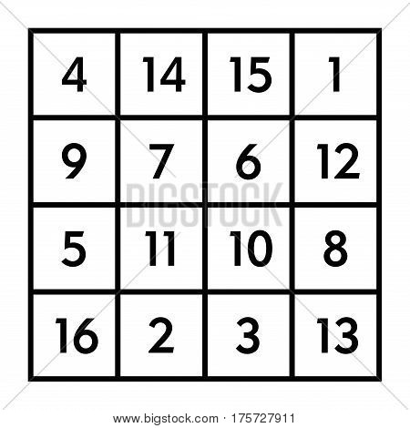 4x4 magic square of order 4 of astrological planet Jupiter with magic constant 34. The sum of numbers in any row, column, or diagonal is always thirty-four. Black and white illustration. Vector.