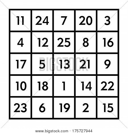 5x5 magic square of order 5 of astrological planet Mars with magic constant 65. The sum of numbers in any row, column, or diagonal is always sixty-five. Isolated black and white illustration. Vector.