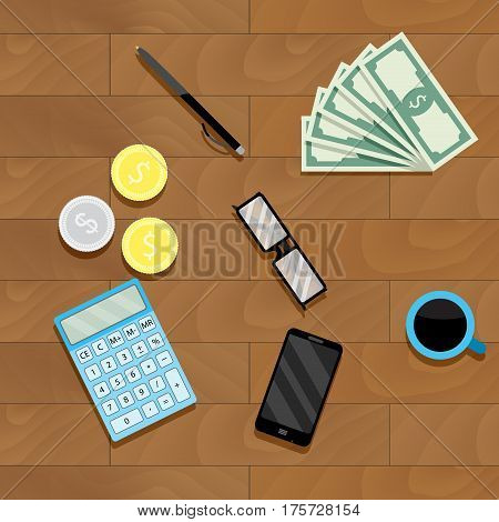Calculation money top view. Finance audit income currency and paperwork salary accounting vector illustration