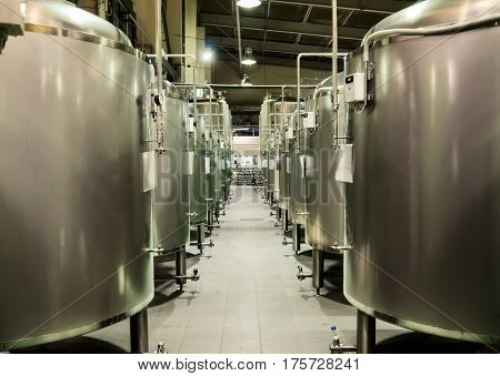 Metal tanks for the fermentation of beer. Shop brewery.