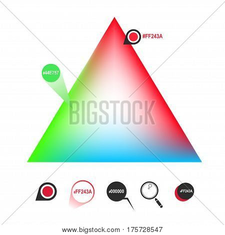 RGB color triangle and icons. Vector eps8
