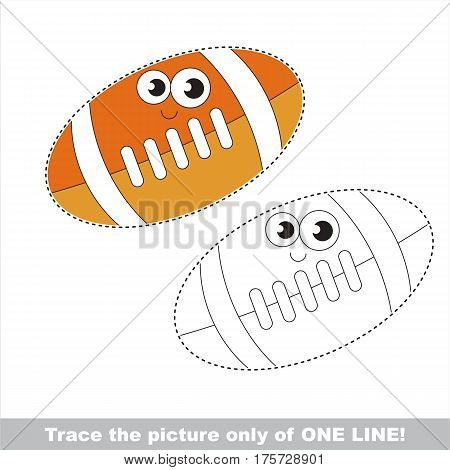 Ball for American Football to be traced only of one line, the tracing educational game to preschool kids with easy game level, the colorful and colorless version.