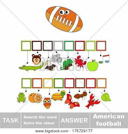 Educational puzzle game for kids. Find the hidden word American Football