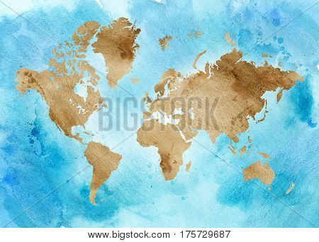 Vintage map of the world on a blue horizontal background. Watercolor illustration.