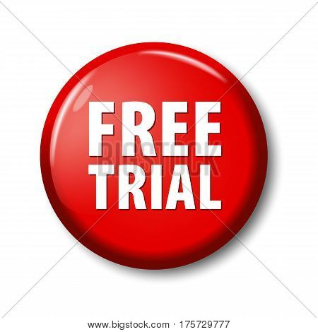 Bright Red Round Button With Words 'free Trial'