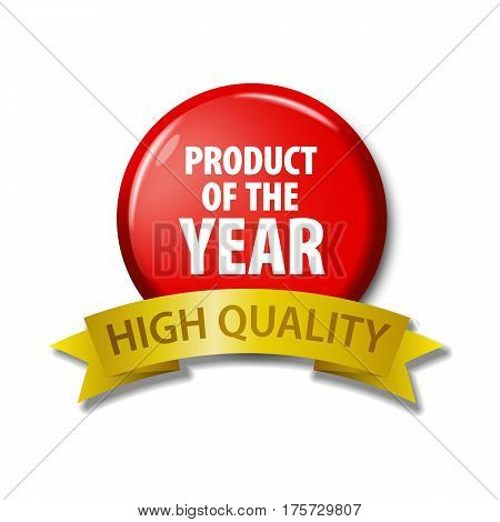 Bright Red Button With Words 'product Of The Year'