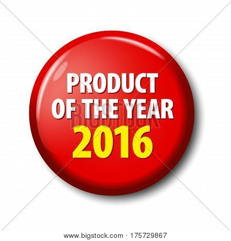 Bright Red Button With Words 'product Of The Year 2016'