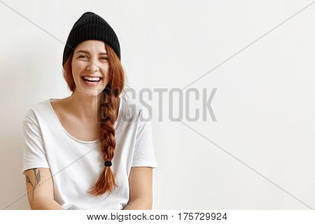Happy Cheerful Ginger Teenage Girl With Messy Braid Smiling Joyfully While Having Fun At Home, Weari