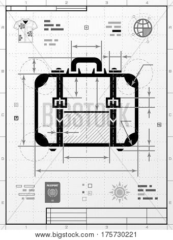Suitcase silhouette as technical drawing. Stylized drafting of travel bag with title block. Vector illustration about travel luggage tourism accessory vacation baggage trip etc