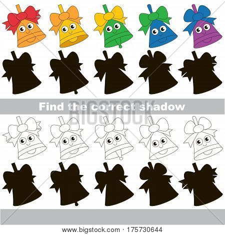 Funny Colorful Bells set to find the correct shadow, the matching educational kid game to compare and connect objects and their true shadows, simple gaming level for preschool kids.