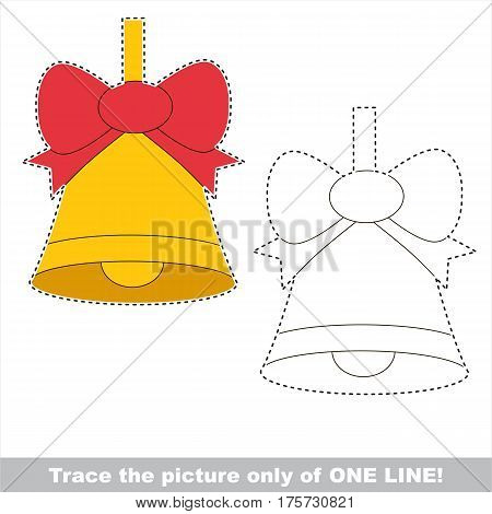 Yellow Bell with Bow to be traced only of one line, the tracing educational game to preschool kids with easy game level, the colorful and colorless version.