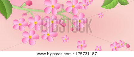 Banner With A Branch Of Cherry Blossoms With Paper Cut. Paper Art Style.leaves And Flowers On A Pink