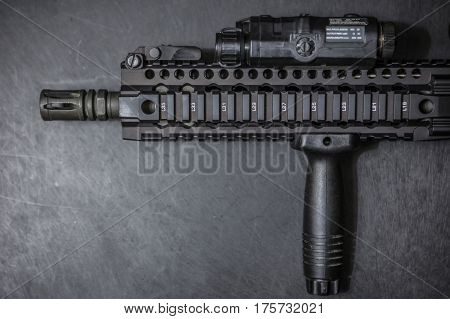 close up front assault rifle AR15 5.56mm