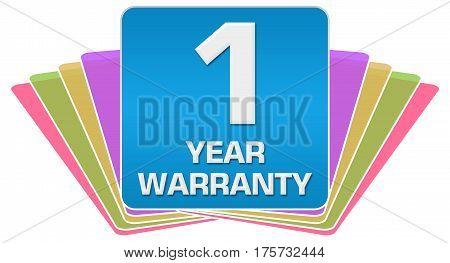 One year warranty text written over colorful blue background.