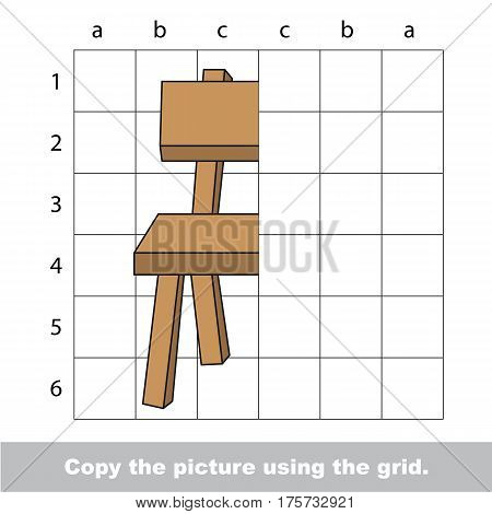 Finish the simmetry picture using grid sells, vector kid educational game for preschool kids, the drawing tutorial with easy game level for half of Chair