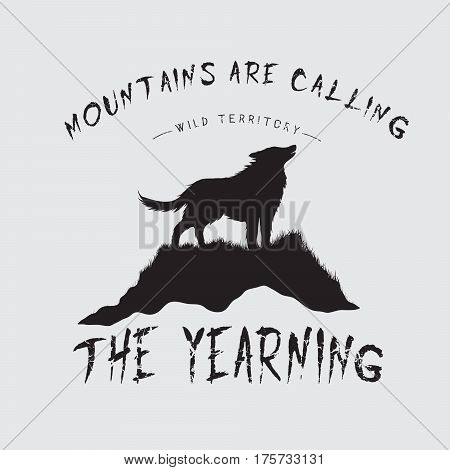 Printed emblem with howling wolf on mountain.Typography design for t-shirts