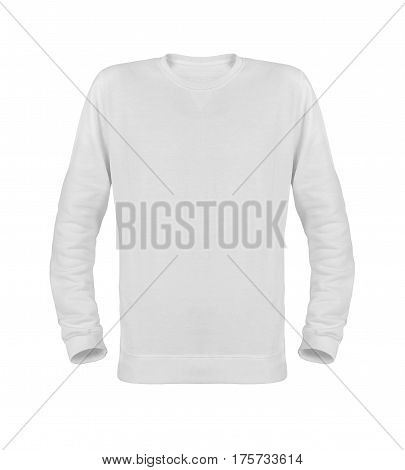 White T-shirt with long sleeves isolated on white background