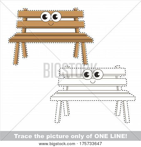 Wooden Bench to be traced only of one line, the tracing educational game to preschool kids with easy game level, the colorful and colorless version.
