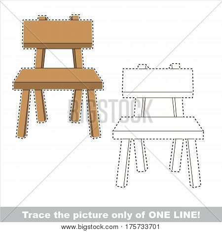 Chair to be traced only of one line, the tracing educational game to preschool kids with easy game level, the colorful and colorless version.