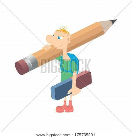 Humorous little man with a pencil. Humorous little man with a pencil