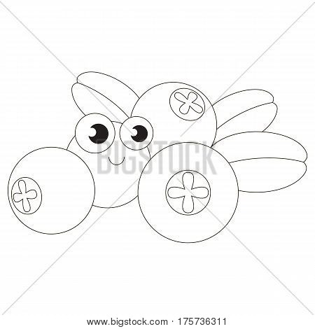 Funny cowberry cartoon. Outlined object with black stroke.