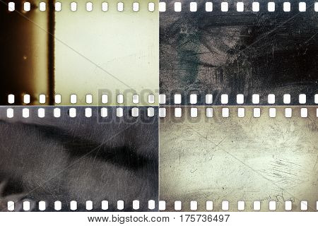 Set of colorful grungy film textures with lots of grain dust scratches and light leaks