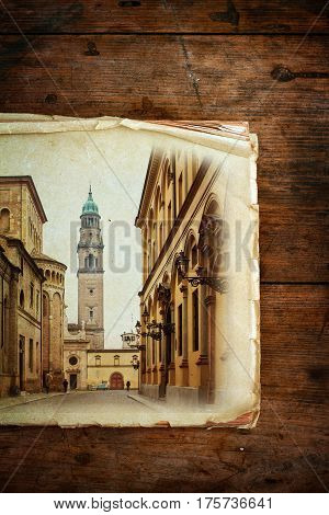 Picture of Parma town on old paper Emilia-Romagna region Italy.