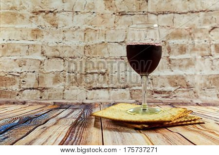 Background With Glass Wine And Matzo For Passover Celebration