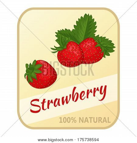 Vintage label with strawberry isolated on white background in simple cartoon style. Vector illustration. Berries Collection.