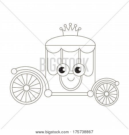 Funny chariot cartoon. Outlined object with black stroke.