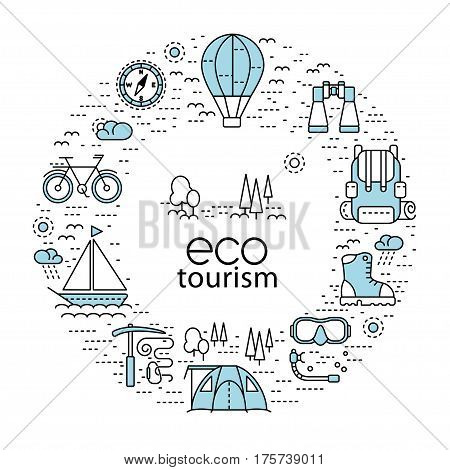 Eco tourism circle concept with modern line style icons. Vector design element can be used for web page banner infographics