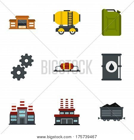 Oil and petrol icons set. Flat illustration of 9 oil and petrol vector icons for web