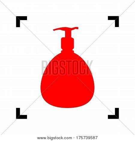 Gel, Foam Or Liquid Soap. Dispenser Pump Plastic Bottle silhouette. Vector. Red icon inside black focus corners on white background. Isolated.