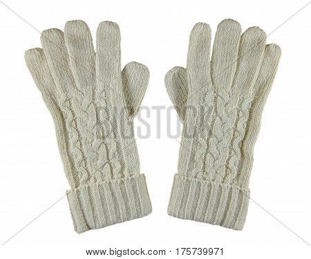 White woolen gloves isolated on white with Clipping Path
