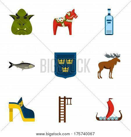 Sweden icons set. Flat illustration of 9 Sweden vector icons for web