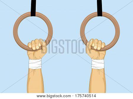 Hands on gymnastics rings - calisthenic training. Vector illustration