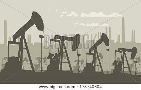 Oil pump on field silhouette - petroleum industry equipment