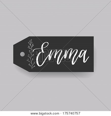 Emma - common female first name on a tag, perfect for seating card usage. One of wide collection in modern calligraphy style.