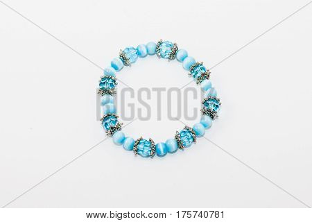 hand crafted blue beaded bracelet (silver spacers)