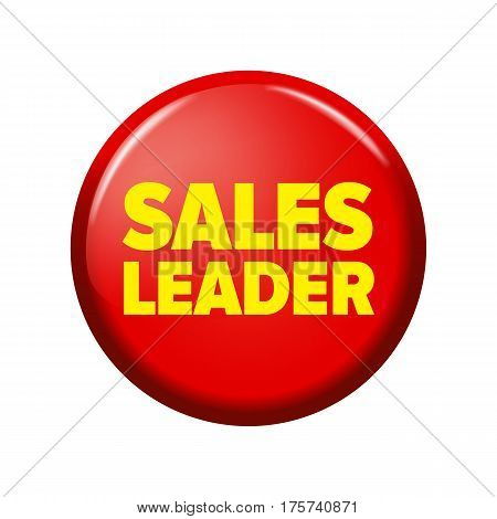 Bright Red Round Button With Word 'sales Leader'