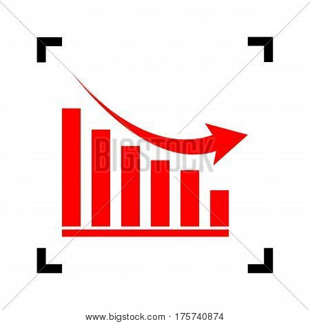 Declining graph sign. Vector. Red icon inside black focus corners on white background. Isolated.