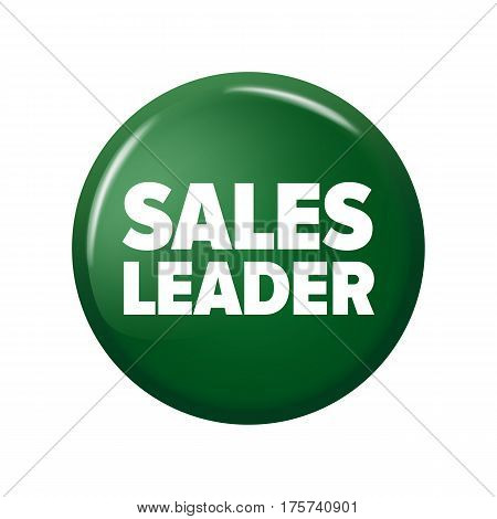 Bright Green Round Button With Word 'sales Leader'