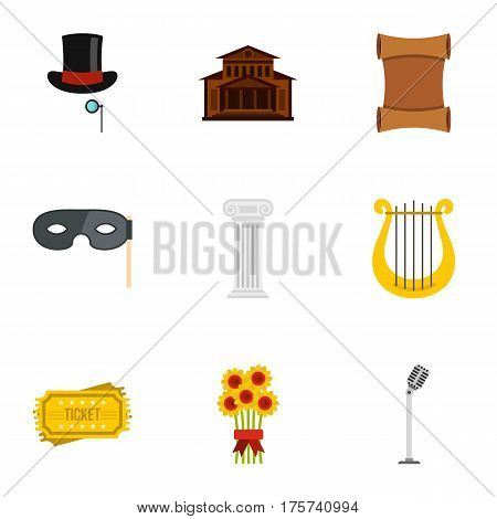 Opera icons set. Flat illustration of 9 opera vector icons for web