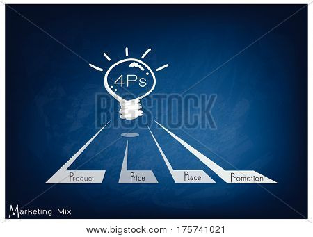 Business Concepts Illustration of 4Ps Model or Marketing Mix Diagram for Management Strategy with Light Bulb on Black Chalkboard. A Foundation Concept in Marketing.