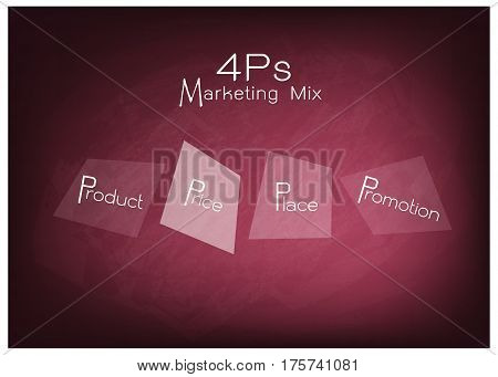 Business Concepts Illustration of 4Ps or Marketing Mix Model for Management Strategy on Chalkboard. A Foundation Concept in Marketing.