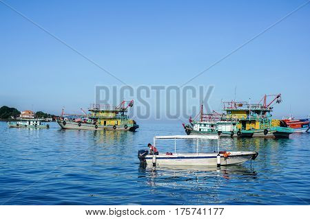 Kota Kinabalu,Sabah-March 1,2017:Commercial fishing boats in the morning at Kota Kinabalu,Sabah.The fisheries industries produce about 200,000 metric tons of fish worth about 700 Ringgit annually.